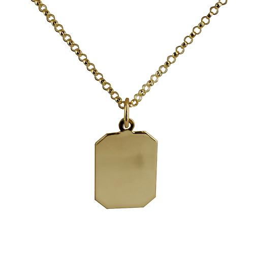 9ct Gold 18x12mm plain rectangular Disc with belcher Chain 16 inches Only Suitable for Children