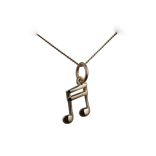 9ct Gold 11x9mm Semi Quaver musical note Pendant with a curb Chain 16 inches Only Suitable for Children