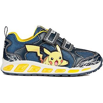 Geox Boys Shuttle Pokemon Lights Trainers Navy Yellow