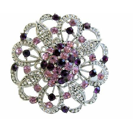 Round Sparkling Light & Dark Amethyst Crystals Brooch Pin