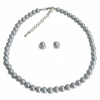 2f7fba9a Grå perle Swarovski Stud Øreringe enkelt streng Necklae specialiserede bryllup  brugerdefinerede smykker