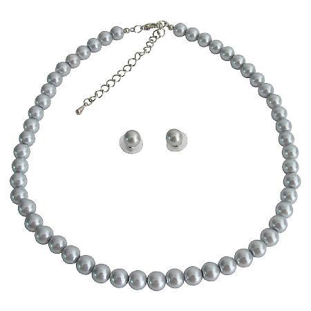 Gray Pearl Swarovski Stud Earrings Single Strand Necklae Specialize Wedding Custom Jewelry