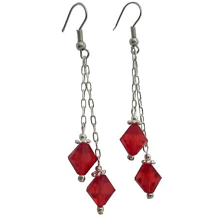 Striking Red Passionate Fashionable Chinese Crystals Dangling Earrings