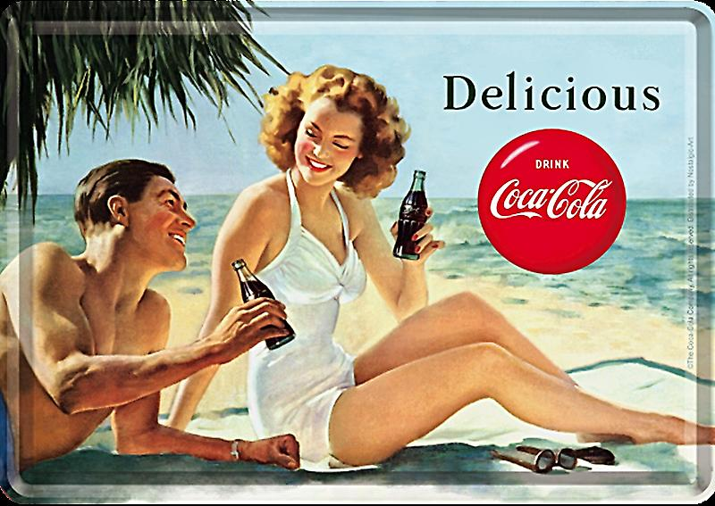 Coca Cola Delicious metal postcard / mini-sign  (na)