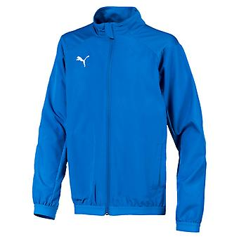 PUMA LIGA Sideline Jacket Jr Kinder Jacke Electric Blau Lemonade-Weiss