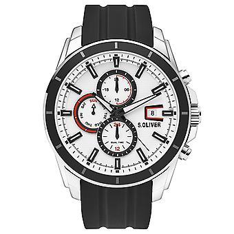 s.Oliver Herren Uhr Armbanduhr Edelstahl Silikon SO-3756-PM