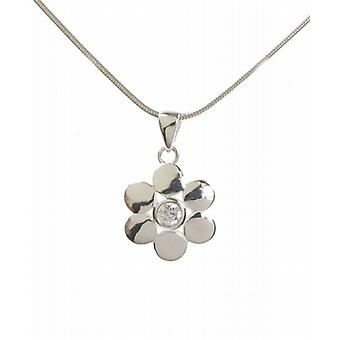 "Cavendish French Sterling Silver and CZ Round Petals Flower Pendant with 16 - 18"" Silver Chain"