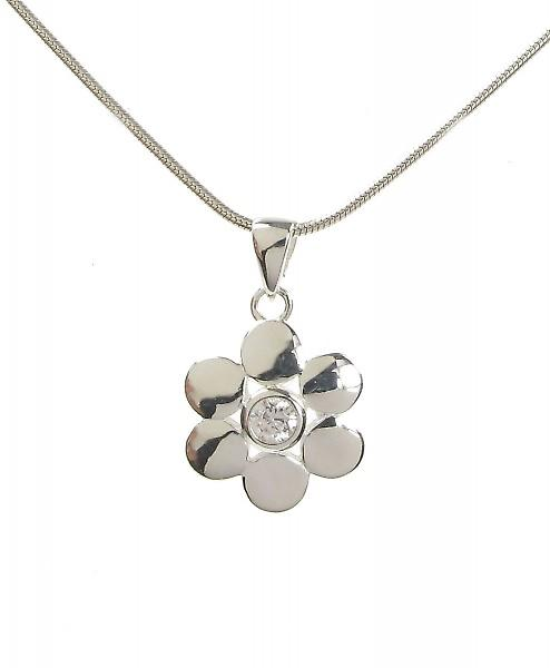 Cavendish French Sterling Silver and CZ Round Petals Flower Pendant without Chain
