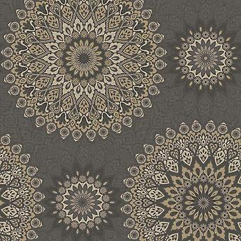 Glitter Medallion Abstract Aztec Motif Wallpaper White Silver Grey Holden Decor