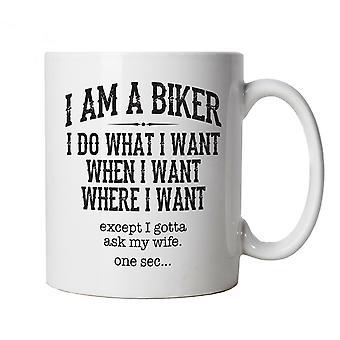 I Am A Biker, Mens Funny Mug | Motorbike Enthusiast Motorcycle Club Chopper Cafe Racer Superbike Gentleman Biker | Cool Birthday Christmas Gift Present Him Dad Husband Son
