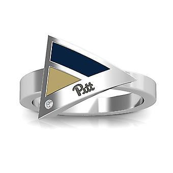 University Of Pittsburgh - Pitt Engraved Diamond Geometric Ring In Dark Blue And Tan