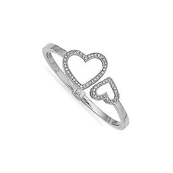 Jewelco London 9ct White Gold hinged & CZ set light weight Heart Ladies Bangle