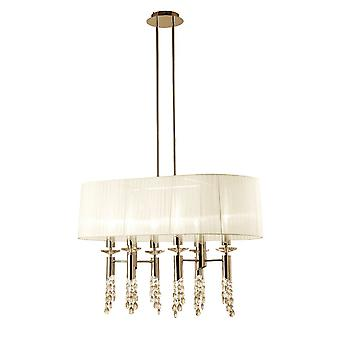Mantra M3853FG Tiffany Pendant 6+6 Light E27+G9 Oval, French Gold With White Shade & Clear Crystal