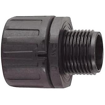 HellermannTyton 166-21016 HG34-S-PG29 HelaGuard Straight Conduit Fitting Polyamide 6.6 28.1 mm Black