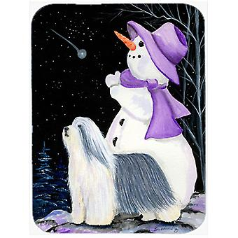 Snowman with Bearded Collie Glass Cutting Board Large