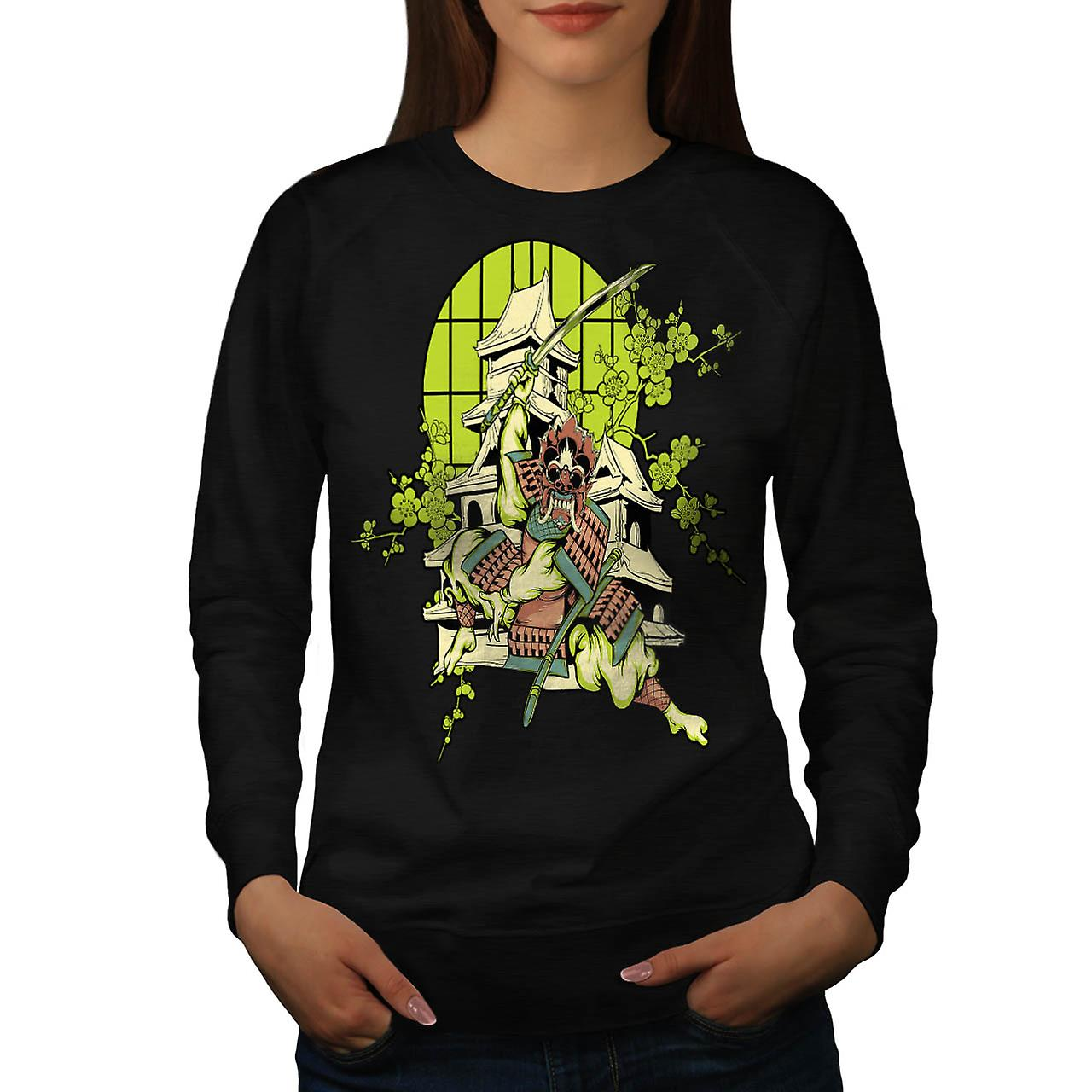 Samurai Warrior House Asian Mask Women Black Sweatshirt | Wellcoda