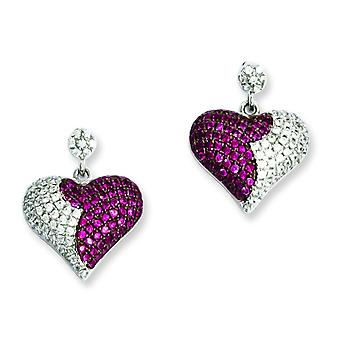 Sterling Silver and Cubic Zirconia Brilliant Embers Heart Dangle Post Earrings