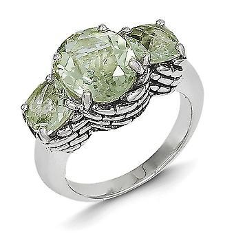 Antik finish grünen Amethyst Ring - Ringgröße: 6 bis 8