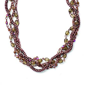 Koper-tone Multicolor acryl kralen 16 inch met Ext Twisted ketting