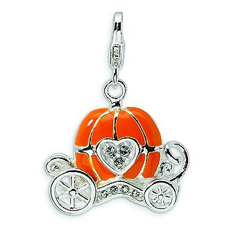 Sterling Silver 3-D Enameled Carriage With Lobster Clasp Charm - 5.2 Grams - Measures 28x20mm