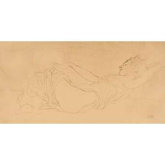 Спящая Женщина Плакат Печать Густава Климта