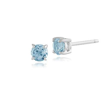 Gemondo Blue Topaz Round Stud Earrings In 9ct White Gold 3.50mm Claw Set