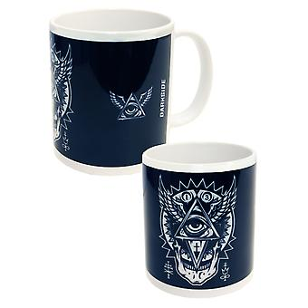 Darkside Clothing All Seeing Eye Mug Cup Black White Occult Illuminati Pyramid