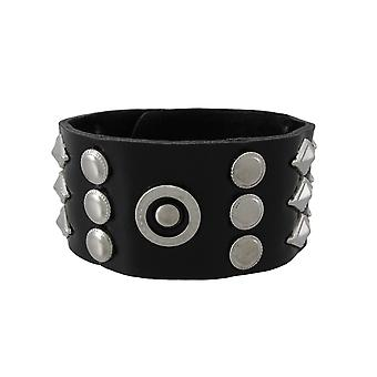 Black Vinyl Wristband with Round and Diamond Shaped Studs