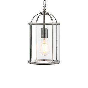ENDON 70323 Lambeth 1 Light Ceiling Pendant-Satin Nickel & Clear Glass