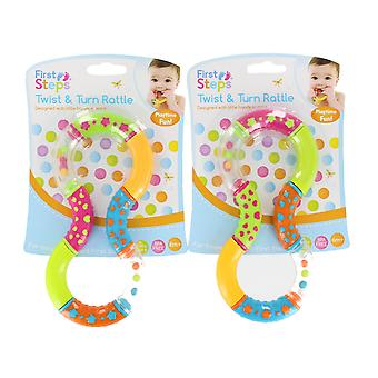 First Steps Set Of 2 Colourful Twist & Turn Baby Rattle 6 Months +