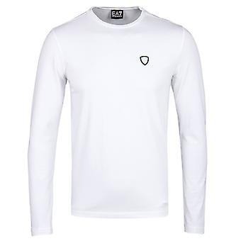EA7 White Shield Logo Long Sleeve T-Shirt