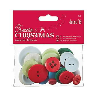 50g Assorted Buttons Pack for Crafts - Traditional Christmas