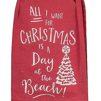 All I Want for Christmas is Day at Beach Flour Sack 27 Inch Kitchen Dish Towel