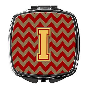 Letter I Chevron Garnet and Gold  Compact Mirror