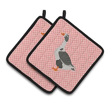 West of England Goose Pink Check Pair of Pot Holders