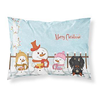 Merry Christmas Carolers Draht kurzhaarige Dackel dappled Stoff Standard Kissenbezug