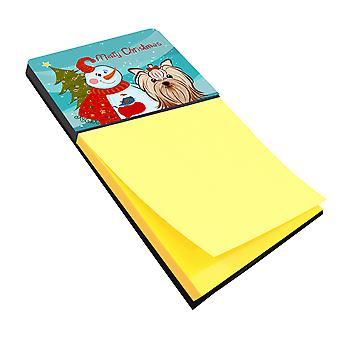 Snowman with Yorkie Yorkishire Terrier Sticky Note Holder
