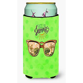 Beach Sunglasses Green Polkadot Tall Boy Beverage Insulator Hugger