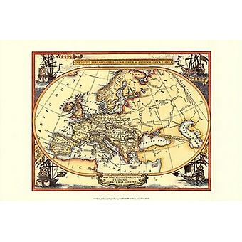 Small Nautical Map Of Europe Poster Print (19 x 13)