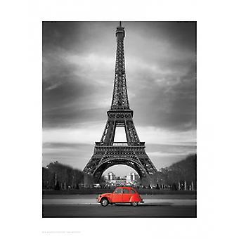 Retrò rosso e la stampa di Poster di Torre Eiffel (14 x 17)