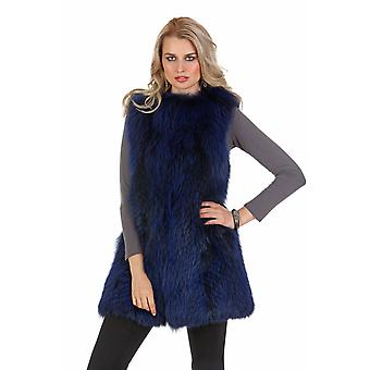 Fourrure de renard véritable de Womens Vest - col Cardigan bleu Royal