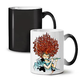 Curly Hair Girl Fashion NEW Black Colour Changing Tea Coffee Ceramic Mug 11 oz | Wellcoda