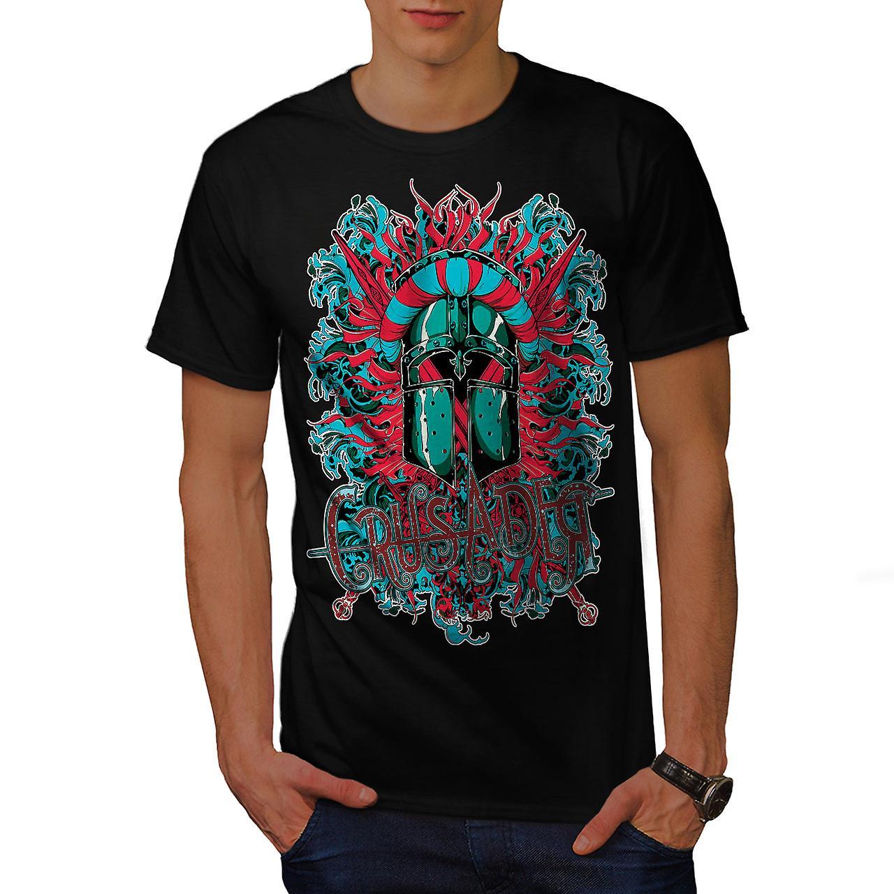 Crusader Knight Fantasy Men Black T-shirt | Wellcoda