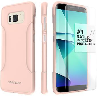 SaharaCase Galaxy S8 Classic Case, Protection Kit with ZeroDamage Tempered Glass Screen - Rose Gold