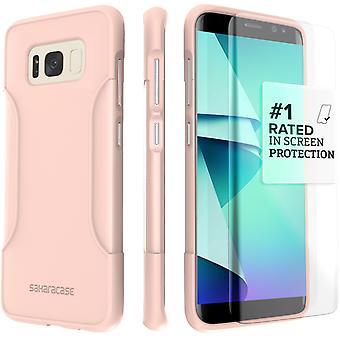 Caso del clásico Galaxy SaharaCase S8, Kit de protección con ZeroDamage templado vidrio pantalla - rosa de oro