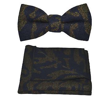 Luxe Arabische marineblauw patroon strikje & zak plein Set