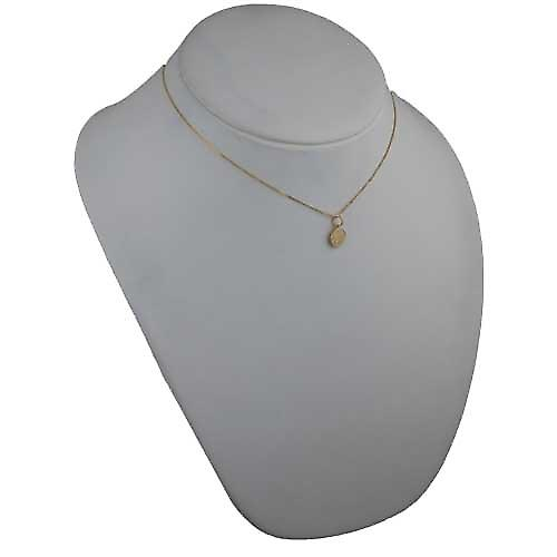 18ct Gold 10mm round St Christoper Pendant with a curb Chain 16 inches Only Suitable for Children