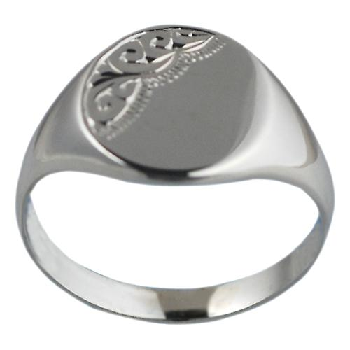 Silver 15x13mm hand engraved solid oval Signet Ring Size Z