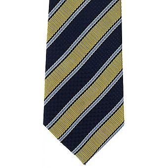Michelsons of London Multi Textured Stripe Polyester Tie - Yellow