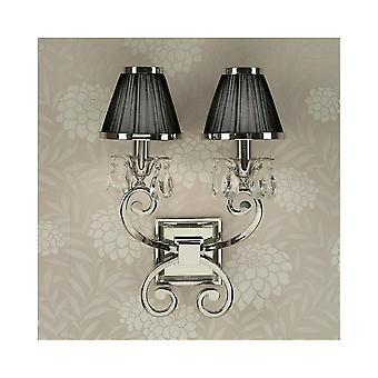 Interiors 1900 Oksana Nickel Twin Wall Light, Black Shades